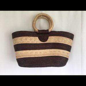 Handbags - Straw Stripe Beach Tote